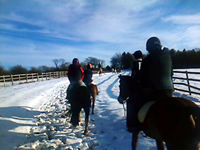 Riding in the snow in the Cotswolds